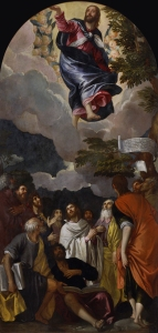 Paolo Veronese (parte superiore), Pietro Damini (Parte inferiore), Ascensione con i Dodici Apostoli, ricongiunti per la mostra padovana.