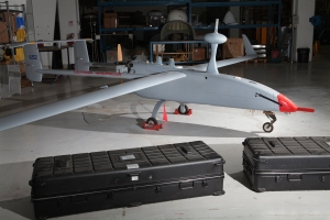 Yavne, Isreal - The Aeronautics Aerostar, a tactical UAV at the Aeronautics factory in Yavne, Israel. Tactical UAV's can fly longer and further than the smaller mini-UAV's and are cheaper than the higher flying MALE/HALE (medium/high altitude long endurance) drones. The Aerostar can remain airborne for up to 12 hours, performing ISR missions as well as detecting and marking potential targets.In 2006 the drone was used in flight-trails by the Israel Highway Police to test the system's effectiveness monitoring traffic and identifying unlawful driving. The drone is flown by a handful of countries including Turkey, The Netherlands, Nigeria - where it's used for costal defense missions, and in Angola to monitor oil fields.